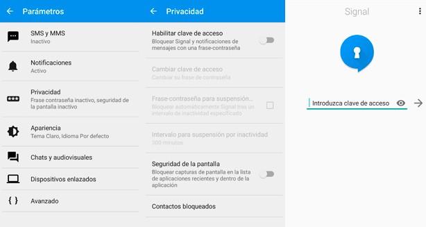 Configuración Privacidad Signal